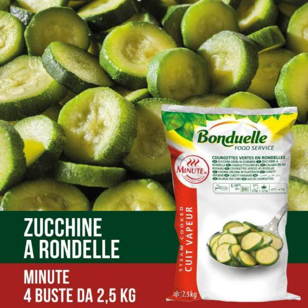 Zucchine verdi tagliate a rondelle. Senza glutine. Prodotto vegano.