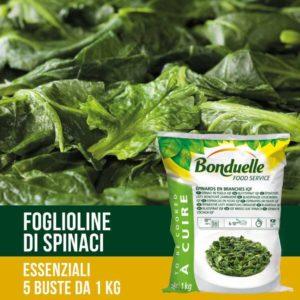 Foglioline di spinaci. Senza glutine. Prodotto vegano.
