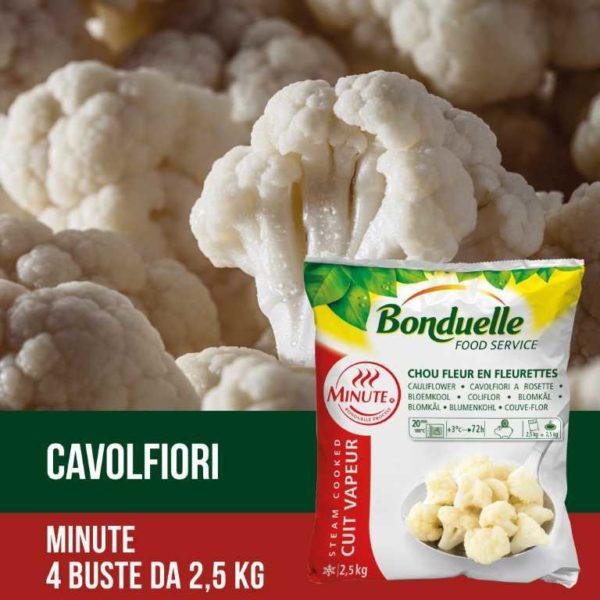 """Cavolfiori della gamma """"Minute"""": già cotti a vapore e pronti all'uso. Senza glutine. Prodotto vegano."""