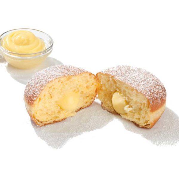 Soffice krapfen di pasta ripiena di crema pasticcera.