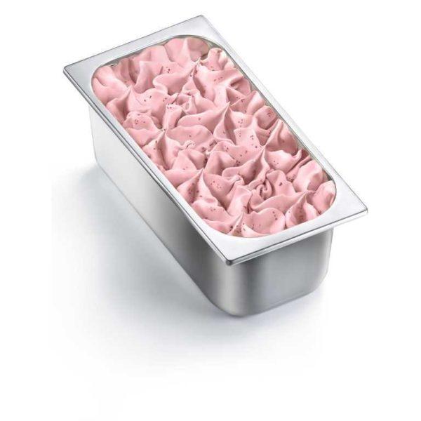 Vaschetta di gelato mantecato al gusto di fragola. Vaschetta grande.