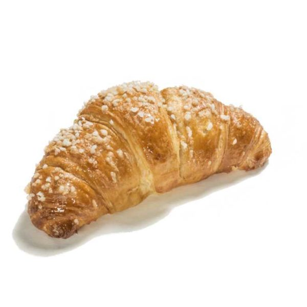 Croissant prodotto con lievito madre e decorato con fiocchi di zucchero. Prodotto naturale