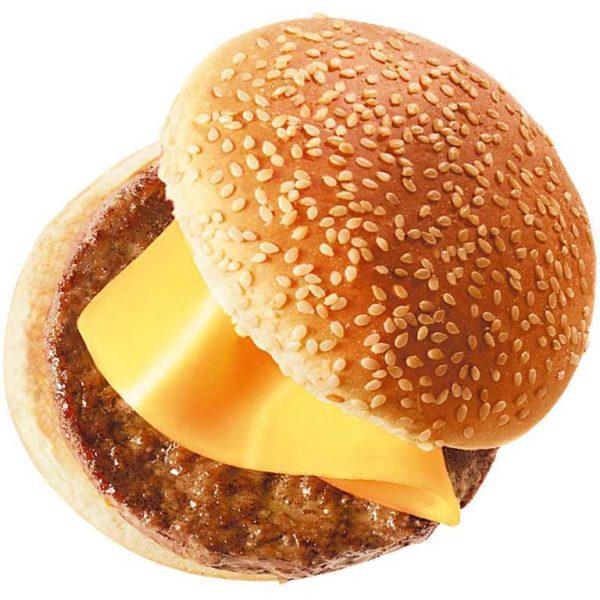 Panino con sesamo ed hamburger con formaggio.