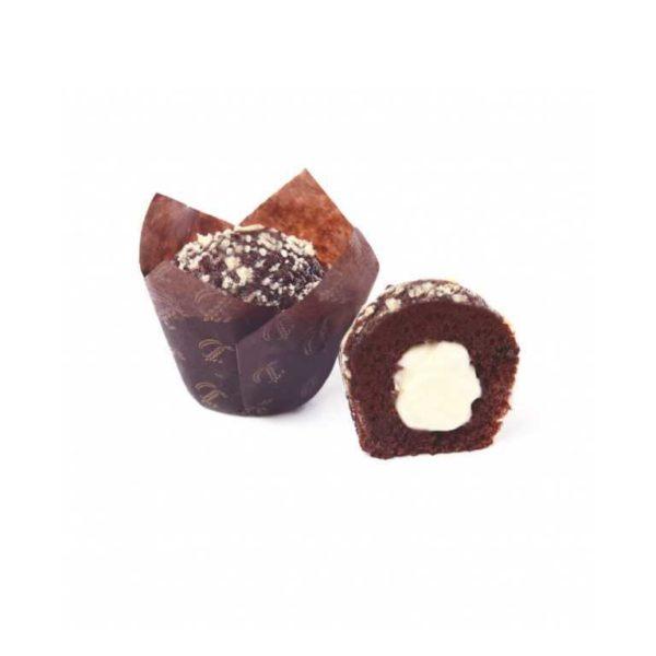 La squisita magia del connubio tra soffice muffin al cacao e crema al cioccolato bianco.