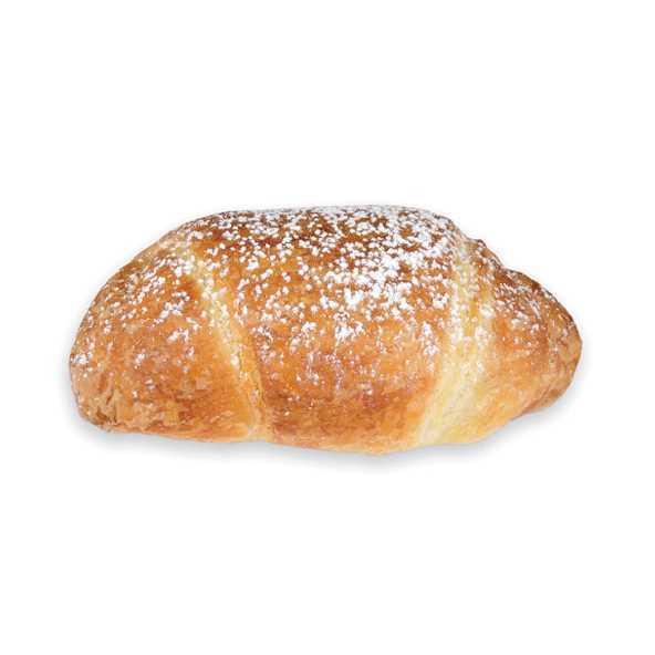 Cornetto con impasto di pasta lievitata sfogliata e farcito con crema pasticcera