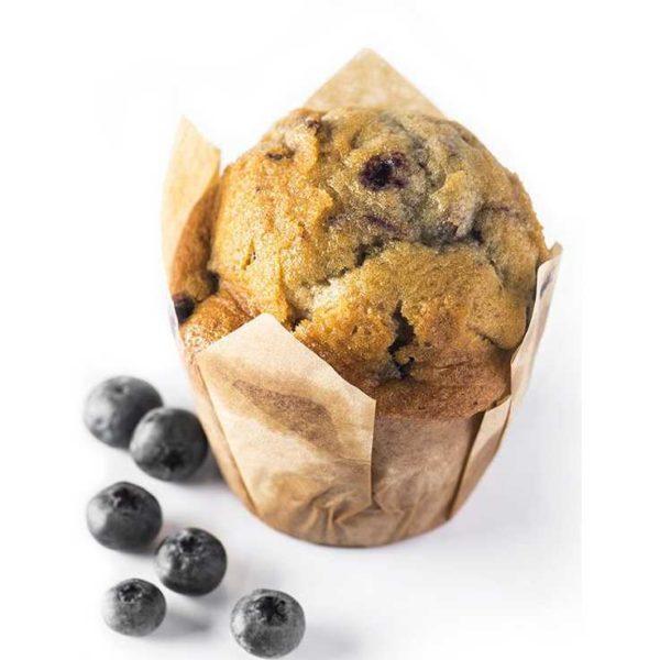 Muffin con farcitura di mirtilli interi e marmellata di mirtilli