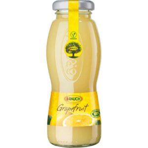 Bottiglia di succo di Pompelmo 100%. Prodotto senza glutine. Prodotto vegano.