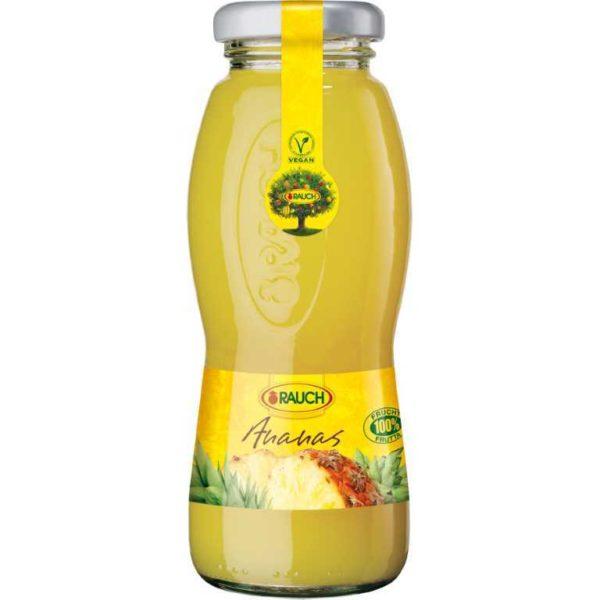 Bottiglia di succo di Ananas 100%. Prodotto senza glutine. Prodotto vegano.