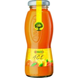Bottiglia di succo di Ace 100%. Prodotto senza glutine. Prodotto vegano.