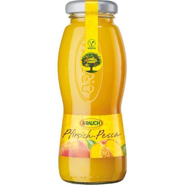 Bottiglia di succo di Pesca 100%. Prodotto senza glutine. Prodotto vegano.