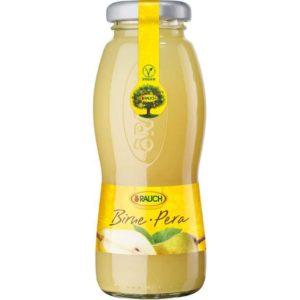 Bottiglia di succo di Pera 100%. Prodotto senza glutine. Prodotto vegano.