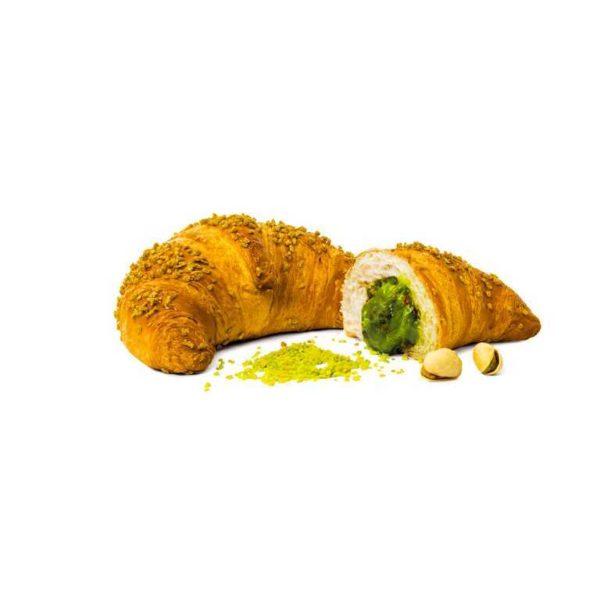Croissant al burro ripieno di pistacchio con granella verde di mais lievitato 36 ore