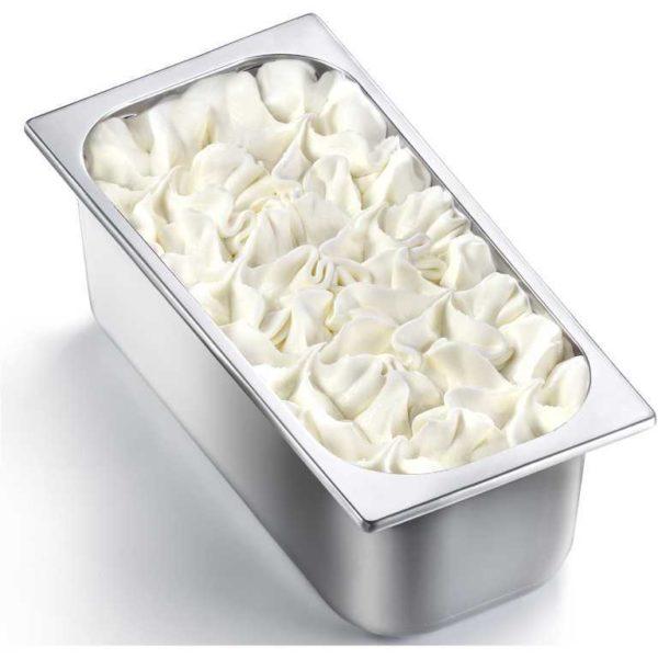 Vaschetta di gelato mantecato al gusto di limone. Vaschetta grande