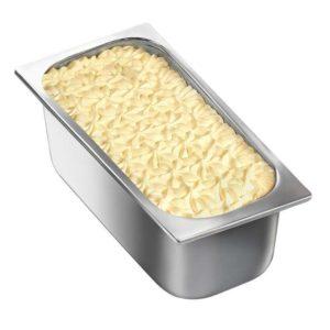 Vaschetta di gelato mantecato alla crema. Vaschetta grande