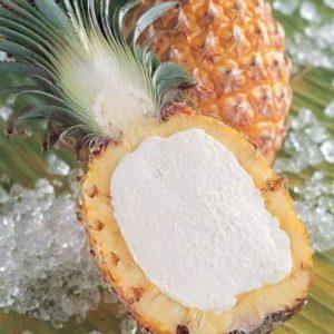 Frutto ripieno di sorbetto di ananas