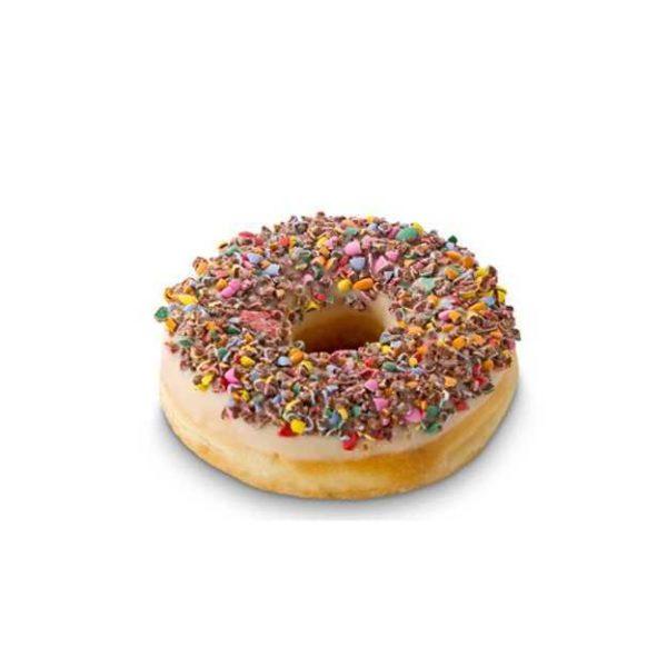 Donut decorato con caramelle al cioccolato e zucchero colorato.