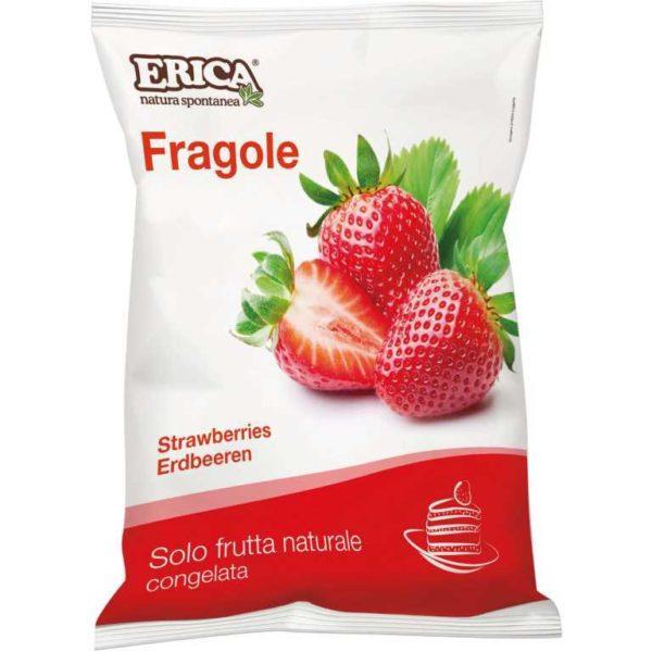 Busta di fragole surgelate. Senza glutine e senza lattosio. Prodotto vegano.