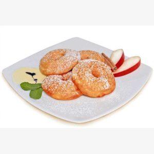 Anelli di mele fresche avvolti da una deliziosa pastella. Percentuale elevata di frutta. Ideali come dessert