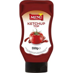 Ketchup in flacone top down. Vegano.