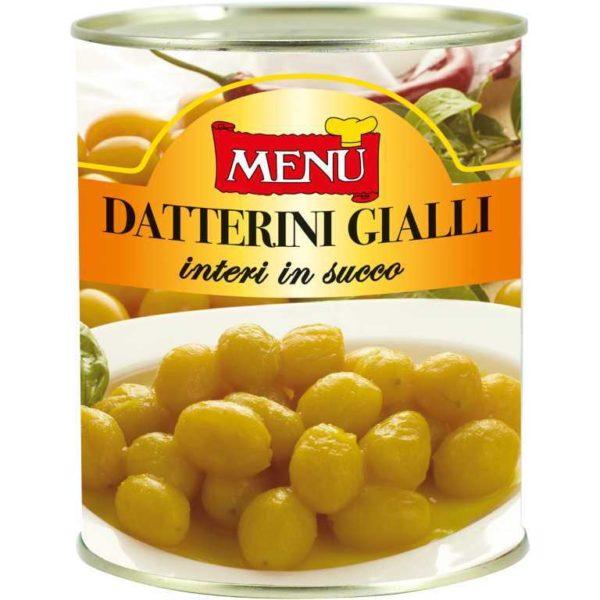 Pomodoro datterino giallo intero in latta con succo di pomodori. Senza glutine. Senza lattosio. Vegano