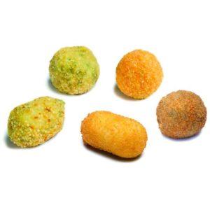 Cartone di apertivi misti contenente: Arancino di riso agli spinaci; Arancino di riso al sugo; Bocconcino di patate e cime di rapa; Crocchè di patate; Bocconcino di melanzane. Prefritto.