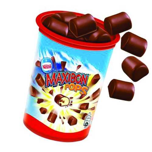Perle di gelato alla vaniglia ricoperte da cacao e latte. 18 perle in ogni confezione