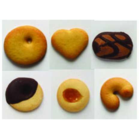 Una confezione di biscotti di pasta frolla in diversi gusti con creme e marmellate.