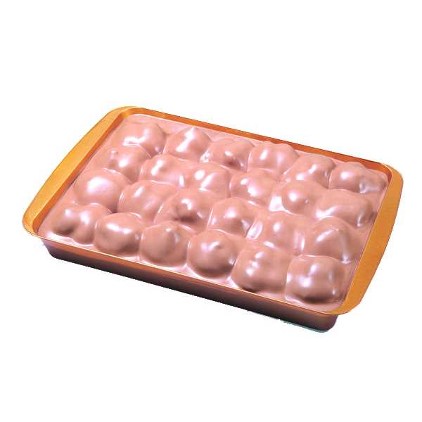 Bignè ricoperti con crema al cioccolato in confezione da 10 porzioni. Confezionato in vaschetta.