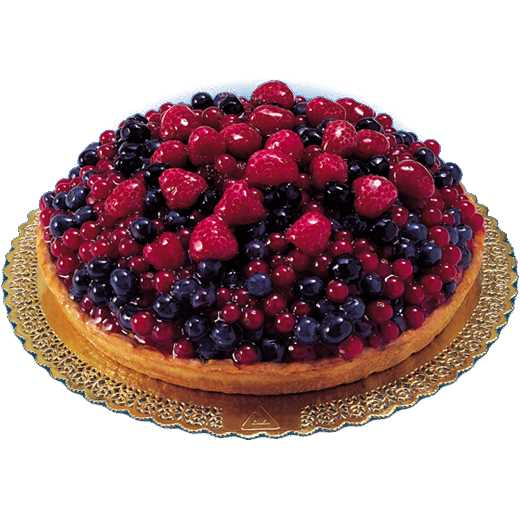 Pasta frolla con crema al gusto di vaniglia e decorazione di frutti di bosco.
