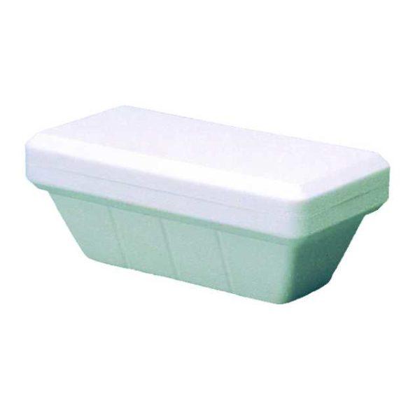 Vaschetta di polistirolo per gelato da 1000cc.Dimensioni 23.5x13.7x8.6 cm.