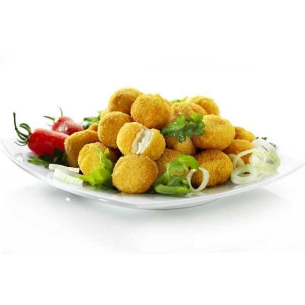 Ciliegie di mozzarella panate e prefritte.