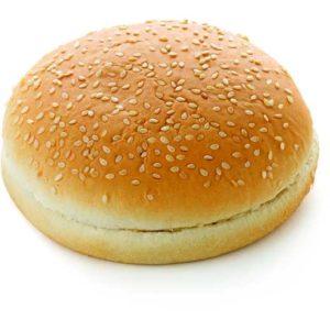 Pane per Hamburger con sesamo. Pretagliato. Diametro: 14 cm.