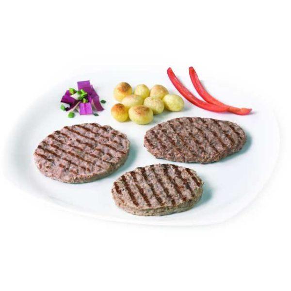 Carne tritata di manzo già cotta e grigliata.