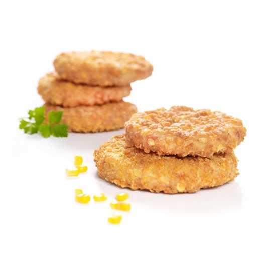 Hamburger di pollo con panatura croccante di corn flakes.