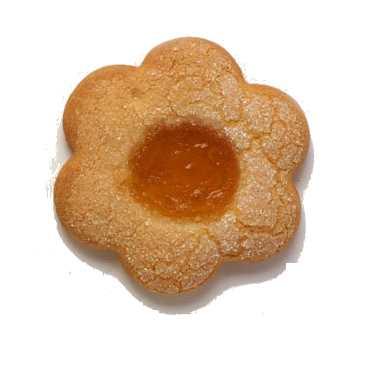 Classica frolla a forma di fiore con marmellata di albicocca.