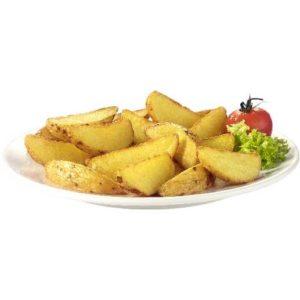 Spicchi di patata tagliati in 8 con la loro buccia. Senza Glutine.