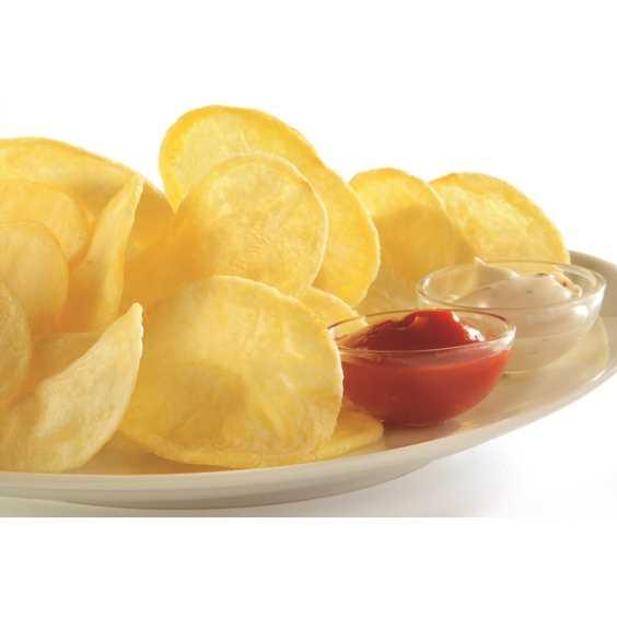 Maxi fette di patate dal taglio sottile. Cartone da 10 kg.
