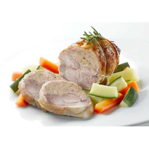Coscia di carne di tacchino con ripieno di carne di tacchino e suino.