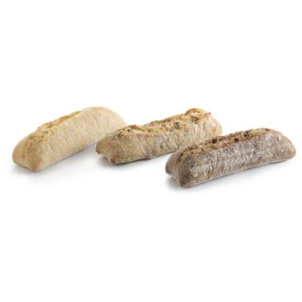 3 piccoli panini di gusti diversi cotti su pietra -  ogni gusto è  confezionato singolarmente.