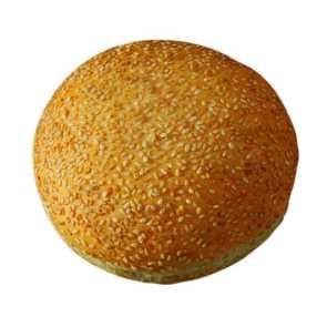 Pane per Hamburger con copertura di semi di sesamo. Diametro: 14cm