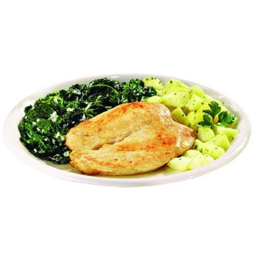 Petto di pollo con spinaci e patate.