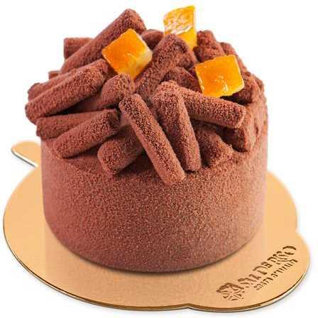 Bavarese al cioccolato Guanaja 70% e cuore d'arancio. Monoporzione.