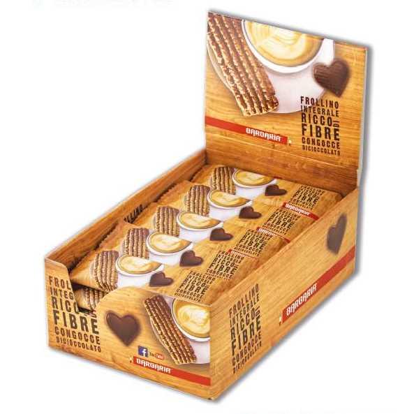 Frollino realizzato con farina di cereali integrale con gocce di cioccolato fondente. Presentato in singolo sacchetto di plastica in espositore.