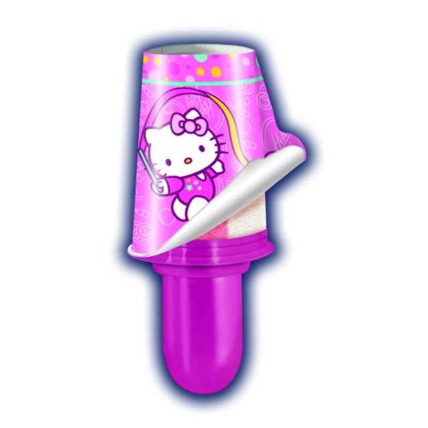 Cono gelato alla fragola e alla vaniglia. In regalo adesivi di Hello Kitty. Ideale per bambini.