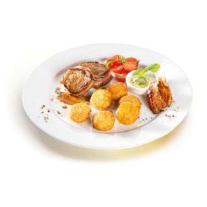Questi gustosi Bocconcini di rösti 11er con esclusivo formaggio di montagna del Vorlaberg e speck di prosciutto tirolese originale sono la soluzione che fa per voi. Senza glutine.