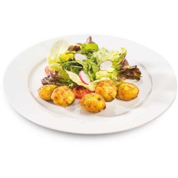 Perché non sbalordire i vostri clienti con qualcosa di straordinario? Questi gustosi Bocconcini di rösti 11er  sono la soluzione che fa per voi: palline di verdure e patate con erba cipollina. Senza glutine.