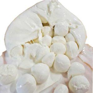 Bufala campana contenente deliziose ciliegine di mozzarella di bufala DOP.