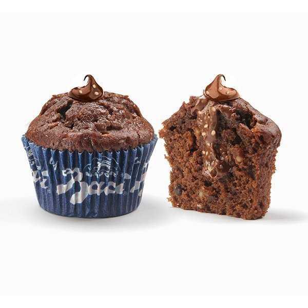 Muffin by Bacicon crema alla nocciola BaciPeruginae crema al cioccolato fondente Perugina. Ispirato ai famosi cioccolatini BaciPerugina. Custodisce un messaggio sul fondo del pirottino.